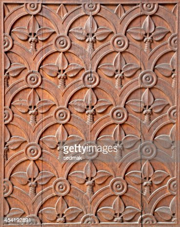Milan - detail from carved church gate : Stock Photo