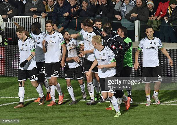 Milan Djuric of AC Cesena celebrates after scoring the goal 20 during the Serie B match between AC Cesena and Cagliari Calcio on February 26 2016 in...