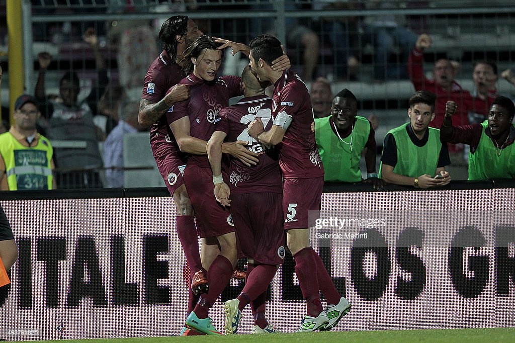 Milan Djuric of AS Cittadella celebrates after scoring a goal during the Serie B match between AS Cittadella and Empoli FC at Stadio Partenio on May...