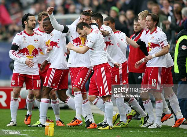 Milan Dudic celebrates with his team mates during the tipp3Bundesliga powered by TMobile match between FC Red Bull Salzburg and FK Austria Wien at...