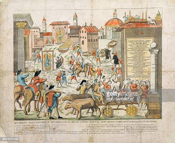 Milan execution of the anointers who attempted to propagate the plague during the epidemic of 1630 coloured print Italy 19th century