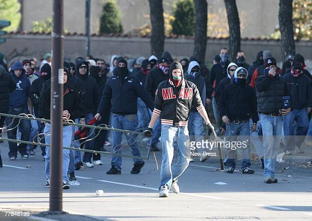 Milan fans arrive for the Serie A game between Atalanta and AC Milan on November 11 2007 in Bergamo Italy The match was suspended after seven minutes...