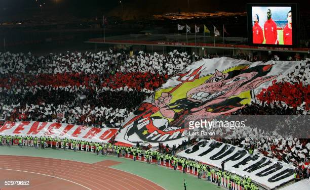 Milan fans attend the start of the European Champions League final between Liverpool and AC Milan on May 25 2005 at the Ataturk Olympic Stadium in...