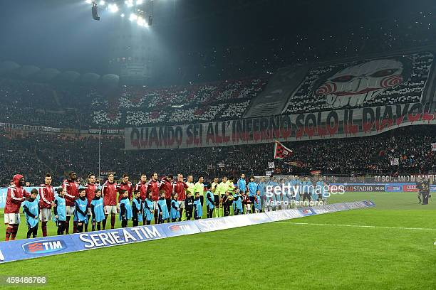 Milan fans display a giant banner during the Serie A match between AC Milan and FC Internazionale Milano at Stadio Giuseppe Meazza on November 23...