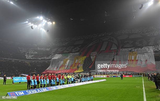 Milan fans display a giant banner during the Serie A match between AC Milan and FC Internazionale at Stadio Giuseppe Meazza on November 20 2016 in...