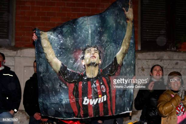 Milan fans gather outside Kaka's home holding posters of the AC Milan captain on January 19 2009 in Milan Italy According to reports AC Milan...