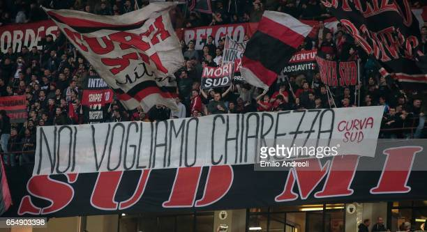 Milan fans show a banner during the Serie A match between AC Milan and Genoa CFC at Stadio Giuseppe Meazza on March 18 2017 in Milan Italy