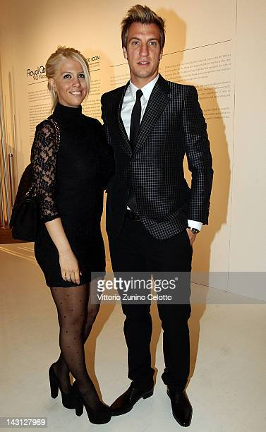 Milan football player Maxi Lopez and wife Wanda Nara attend a cocktail party for the 'Royal Oak 40 Years From AvantGarde to Icon' exhibition at the...