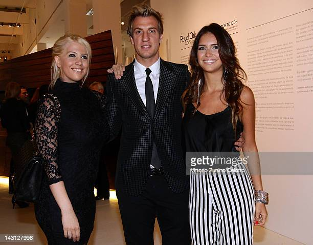 Milan football player Maxi Lopez wife Wanda Nara and her sister Zaira Nara attend a cocktail party for the 'Royal Oak 40 Years From AvantGarde to...