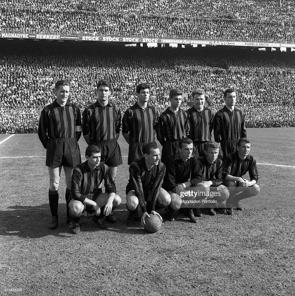 Milan team lined up on the football playground