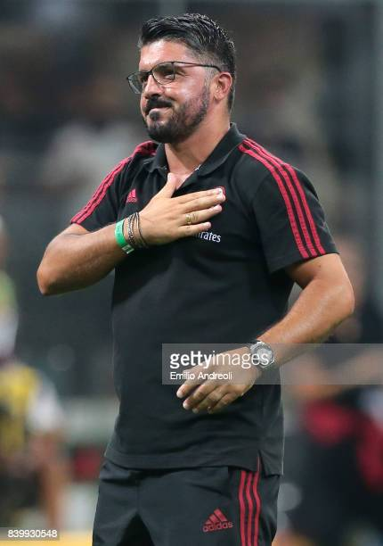 Milan former player Ivan Gennaro Gattuso greets the fans during the Serie A match between AC Milan and Cagliari Calcio at Stadio Giuseppe Meazza on...