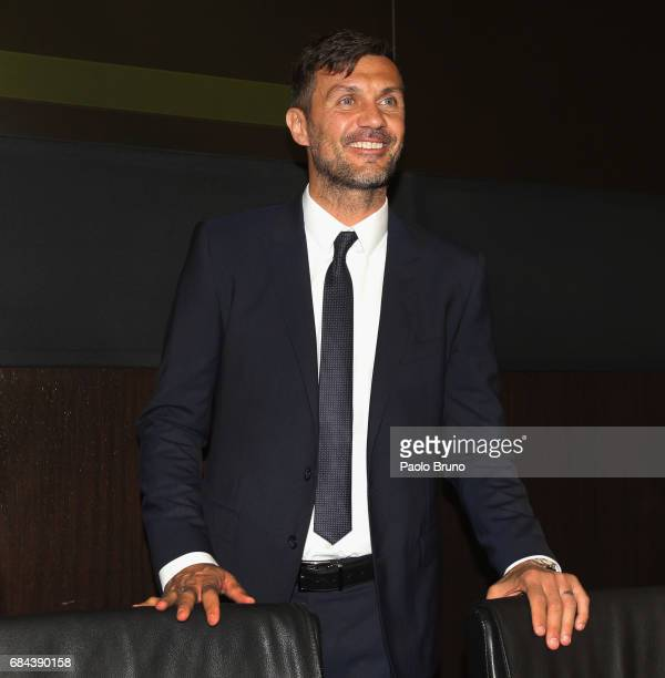 Milan former player Paolo Maldini attends the Italian Football Federation press conference ' Il calcio Aiuta' on May 18 2017 in Rome Italy