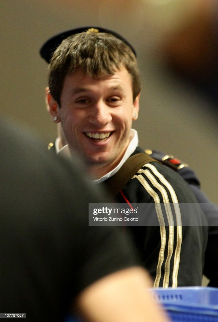 AC Milan forward <a gi-track='captionPersonalityLinkClicked' href=/galleries/search?phrase=Antonio+Cassano&family=editorial&specificpeople=214558 ng-click='$event.stopPropagation()'>Antonio Cassano</a> is seen at Malpensa Airport before the departure for AC Milan Training Camp in Dubai on December 27, 2010 in Milan, Italy.