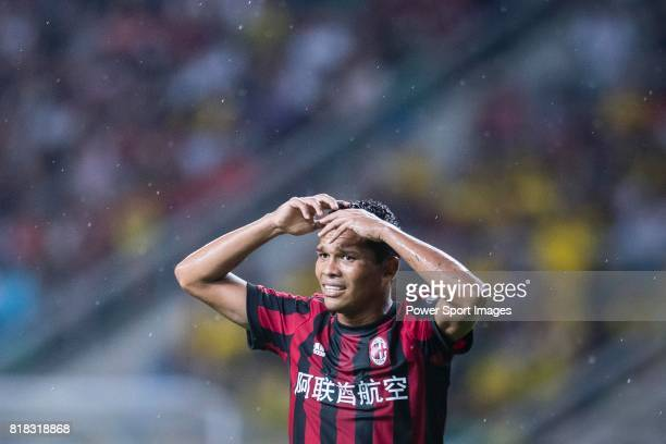 Milan Forward Carlos Bacca gestures during the International Champions Cup 2017 match between AC Milan vs Borussia Dortmund at University Town Sports...
