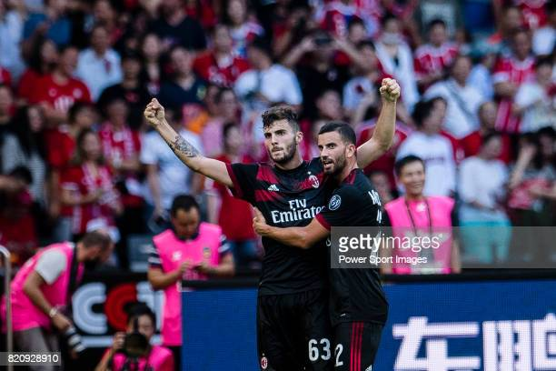 Milan Forward Patrick Cutrone celebrating his goal with his teammate AC Milan Midfielder Mateo Musacchio during the 2017 International Champions Cup...