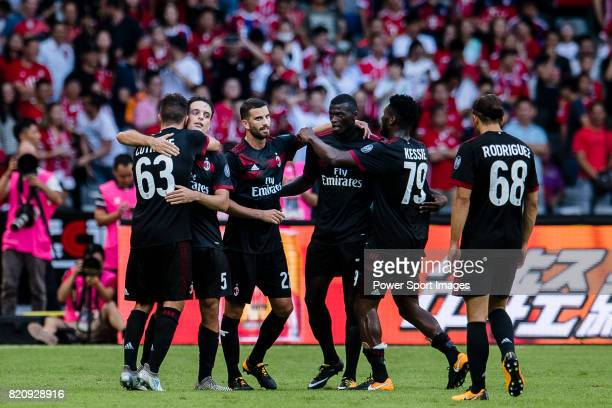 Milan Forward Patrick Cutrone celebrating his goal with his teammates during the 2017 International Champions Cup China match between FC Bayern and...