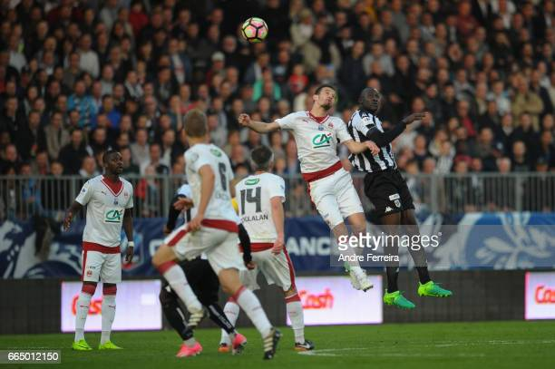 Milan Gajic of Bordeaux and Cheickh Ndoye of Angers during the French National Cup Quarter Final match between SCO Angers and Girondins Bordeaux on...