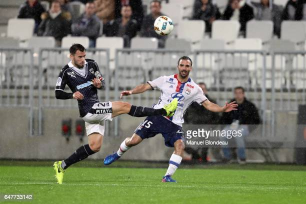 Milan Gajic of Bordeaux and Jeremy Morel of Lyon during the French Ligue 1 match between Bordeaux and Lyon at Stade Matmut Atlantique on March 3 2017...
