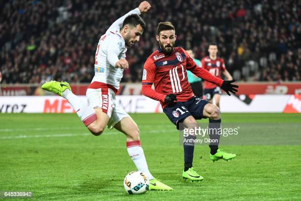 Milan Gajic of Bordeaux and Julian Palmieri of Lille during the French Ligue 1 match between Lille and Bordeaux at Stade PierreMauroy on February 25...