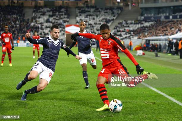 Milan Gajic of Bordeaux and Ludovic Baal of Rennes during the Ligue 1 match between Girondins de Bordeaux and Stade Rennais Rennes at Nouveau Stade...