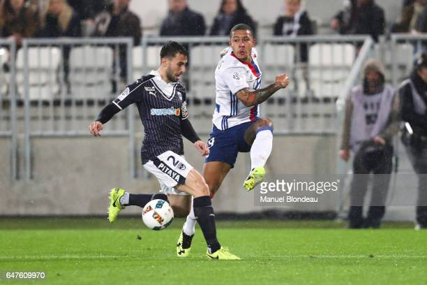 Milan Gajic of Bordeaux and Memphis Depay of Lyon during the French Ligue 1 match between Bordeaux and Lyon at Stade Matmut Atlantique on March 3...