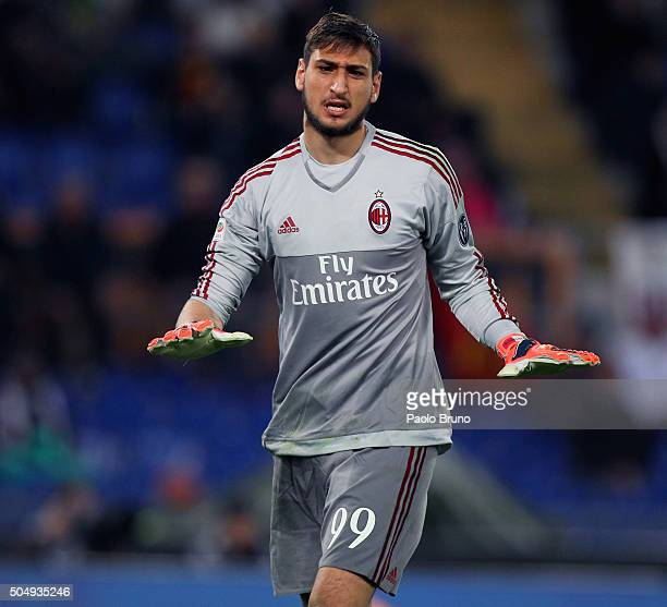Milan goalkeeper Gianluigi Donnarumma gestures during the Serie A match between AS Roma and AC Milan at Stadio Olimpico on January 9 2016 in Rome...