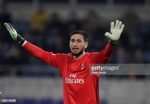 Milan goalkeeper Gianluigi Donnarumma gestures during the Serie A match between SS Lazio and AC Milan at Stadio Olimpico on February 13 2017 in Rome...
