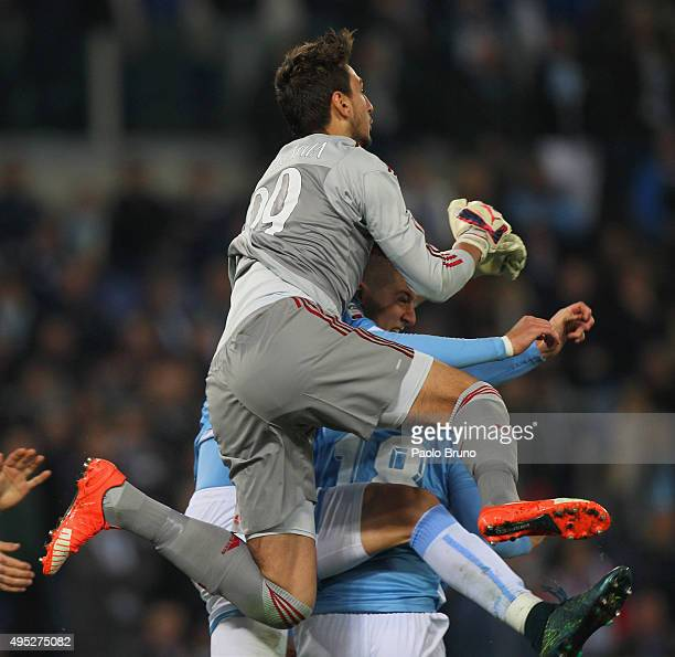Milan goalkeeper Gianluigi Donnarumma in action during the Serie A match between SS Lazio and AC Milan at Stadio Olimpico on November 1 2015 in Rome...