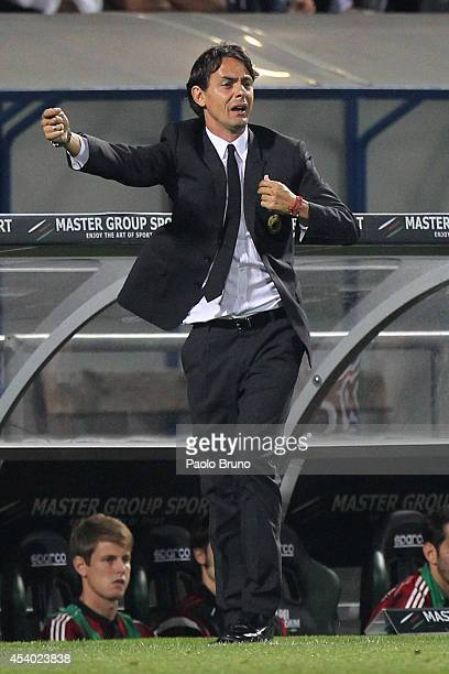 AC Milan head coach Filippo Inzaghi gestures during the TIM Preseason Tournament between US Sassuolo FC Juventus and AC Milan at Mapei Stadium Citta...