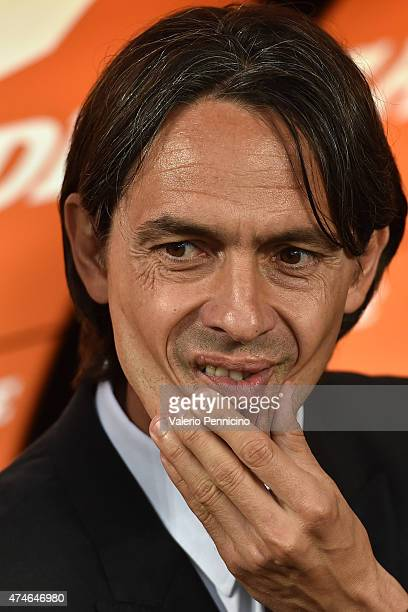Milan head coach Filippo Inzaghi looks on during the Serie A match between AC Milan and Torino FC at Stadio Giuseppe Meazza on May 24 2015 in Milan...