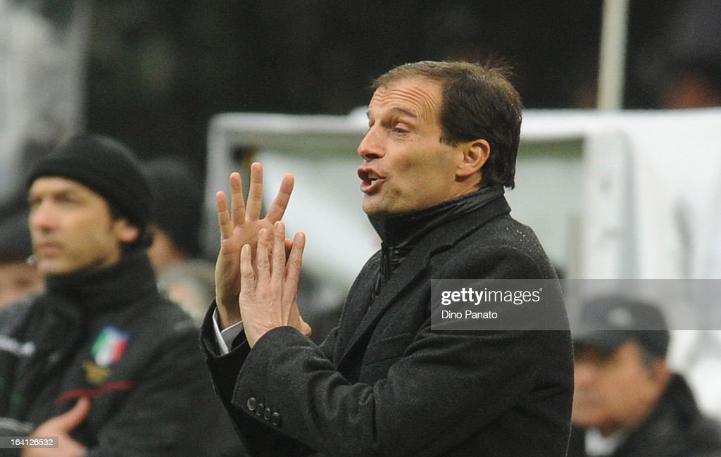 AC Milan head coach Massimiliano Allegri gestures during the Serie A match between AC Milan and US Citta di Palermo at San Siro Stadium on March 17, 2013 in Milan, Italy.