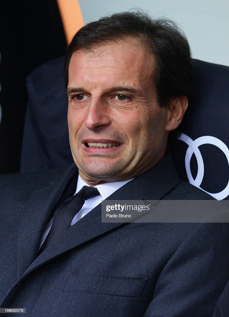 AC Milan head coach <a gi-track='captionPersonalityLinkClicked' href=/galleries/search?phrase=Massimiliano+Allegri&family=editorial&specificpeople=3470667 ng-click='$event.stopPropagation()'>Massimiliano Allegri</a> looks on during the Serie A match between AC Milan and AC Siena at San Siro Stadium on January 6, 2013 in Milan, Italy.