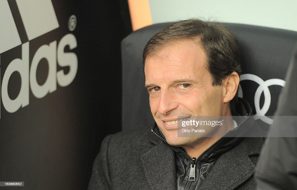 AC Milan head coach Massimiliano Allegri looks on during the Serie A match between AC Milan and US Citta di Palermo at San Siro Stadium on March 17, 2013 in Milan, Italy.