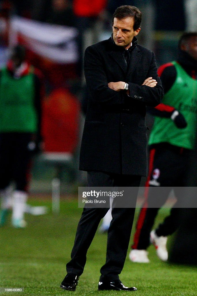 AC Milan head coach <a gi-track='captionPersonalityLinkClicked' href=/galleries/search?phrase=Massimiliano+Allegri&family=editorial&specificpeople=3470667 ng-click='$event.stopPropagation()'>Massimiliano Allegri</a> reacts during the Serie A match between AS Roma and AC Milan at Stadio Olimpico on December 22, 2012 in Rome, Italy.