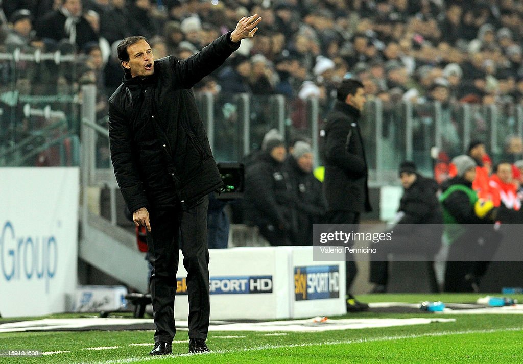 AC Milan head coach <a gi-track='captionPersonalityLinkClicked' href=/galleries/search?phrase=Massimiliano+Allegri&family=editorial&specificpeople=3470667 ng-click='$event.stopPropagation()'>Massimiliano Allegri</a> shouts to his players during the TIM cup match between Juventus FC and AC Milan at Juventus Arena on January 9, 2013 in Turin, Italy.