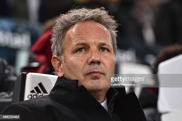 Milan head coach Sinisa Mihajlovic looks on during the Serie A match between Juventus FC and AC Milan at Juventus Arena on November 21 2015 in Turin...