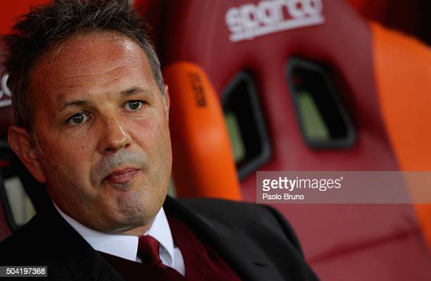 Milan head coach Sinisa Mihajlovic looks on during the Serie A match between AS Roma and AC Milan at Stadio Olimpico on January 9 2016 in Rome Italy