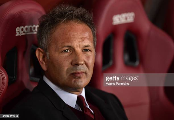 Milan head coach Sinisa Mihajlovic looks on prior to the Serie A match between Torino FC and AC Milan at Stadio Olimpico di Torino on October 17 2015...
