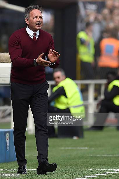 Milan head coach Sinisa Mihajlovic shouts to his players during the Serie A match between Atalanta BC and AC Milan at Stadio Atleti Azzurri d'Italia...