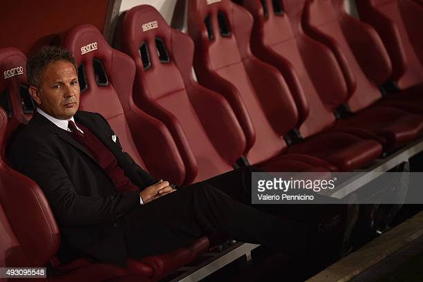 Milan head coach Sinisa Mihajlovic sits on the bench prior to the Serie A match between Torino FC and AC Milan at Stadio Olimpico di Torino on...