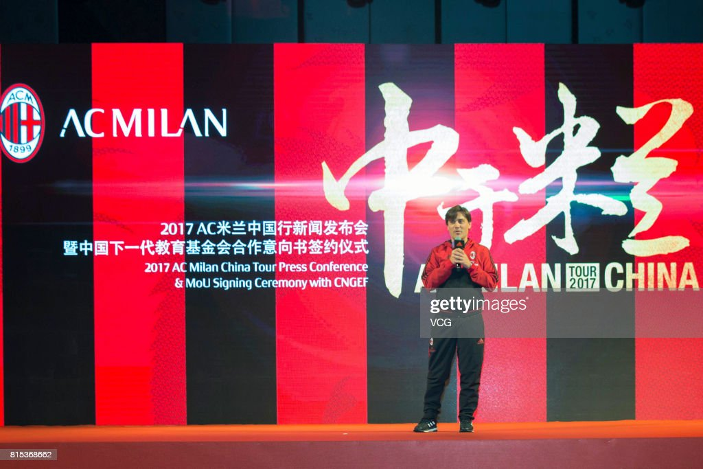 AC Milan head coach Vincenzo Montella attends the 2017 AC Milan China Tour Press Conference and MoU Signing Ceremony with CNGEF on July 16, 2017 in Guangzhou, Guangdong Province of China.
