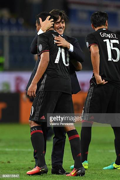 Milan head coach Vincenzo Montella celebrates victory with Carlos Bacca at the end of the Serie A match between UC Sampdoria and AC Milan at Stadio...
