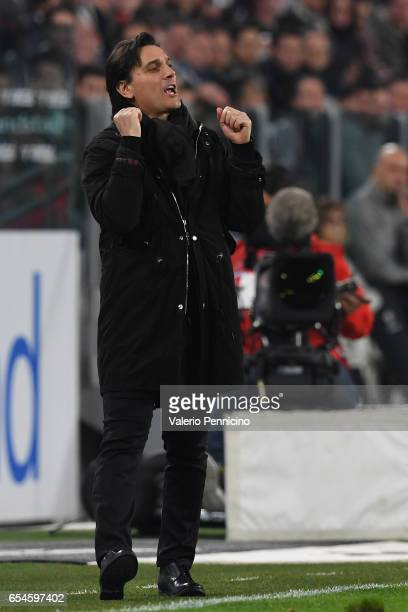 Milan head coach Vincenzo Montella issues instructions during the Serie A match between Juventus FC and AC Milan at Juventus Stadium on March 10 2017...