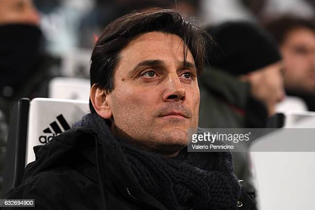 Milan head coach Vincenzo Montella looks on during the TIM Cup match between Juventus FC and AC Milan at Juventus Stadium on January 25 2017 in Turin...