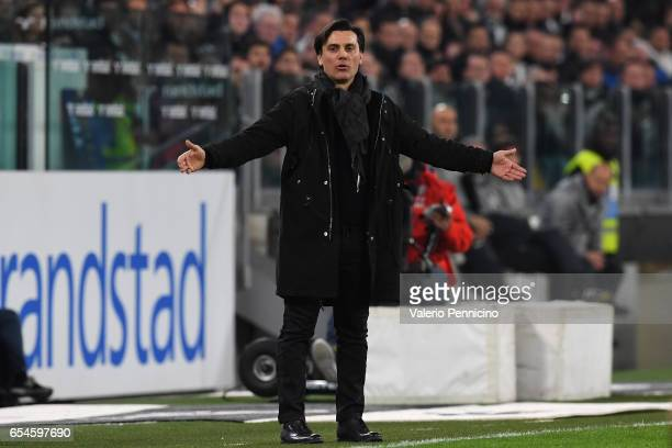 Milan head coach Vincenzo Montella reacts during the Serie A match between Juventus FC and AC Milan at Juventus Stadium on March 10 2017 in Turin...
