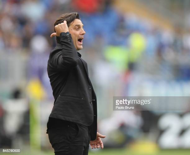 Milan head coach Vincenzo Montella reacts during the Serie A match between SS Lazio and AC Milan at Stadio Olimpico on September 10 2017 in Rome Italy