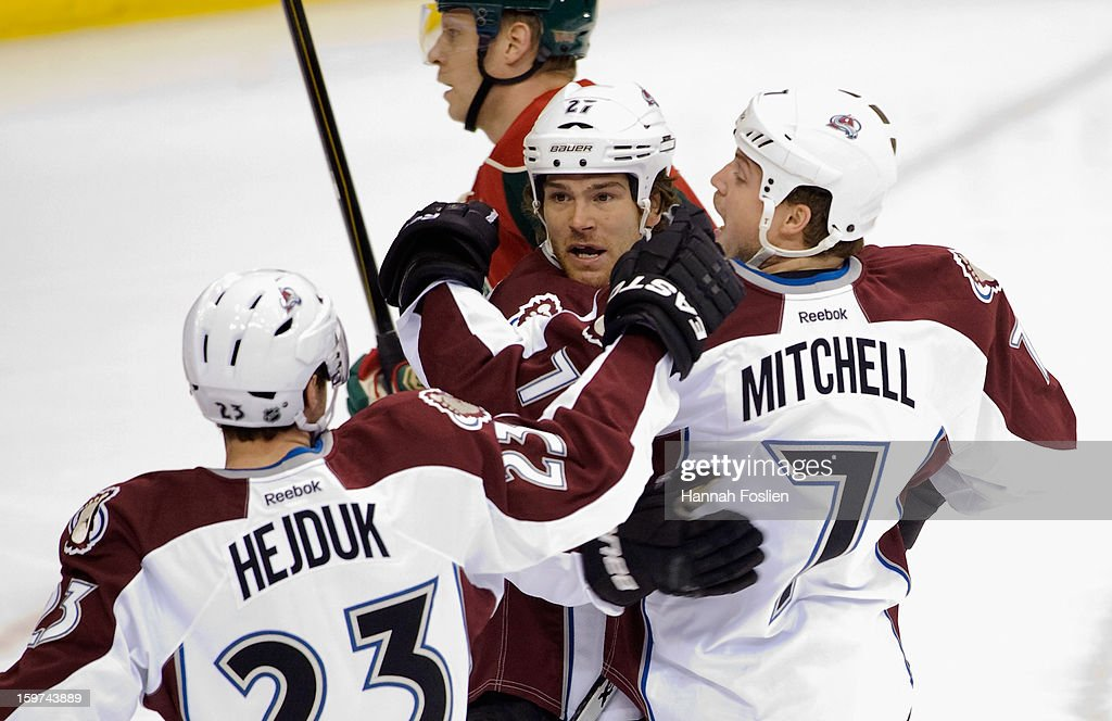 Milan Hejduk #23 and Steve Downie #27 of the Colorado Avalanche congratulate John Mitchell #7 on a goal during the first period of their season opener against the Minnesota Wild on January 19, 2013 at Xcel Energy Center in St Paul, Minnesota.