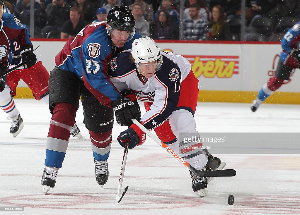 <a gi-track='captionPersonalityLinkClicked' href=/galleries/search?phrase=Milan+Hejduk&family=editorial&specificpeople=202129 ng-click='$event.stopPropagation()'>Milan Hejduk</a> #23 of the Colorado Avalanche skates against Matt Calvert #11 of the Columbus Blue Jackets at the Pepsi Center on January 24, 2013 in Denver, Colorado. Colorado beat Columbus 4-0.