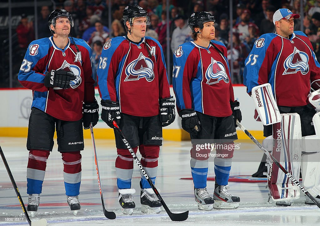 Milan Hejduk #23, Paul Stastny #26, Steve Downie #27 and goalie Jean-Sebastien Giguere #35 of the Colorado Avalanche take the ice during player introductions against the Los Angeles Kings at the Pepsi Center on January 22, 2013 in Denver, Colorado. The Avalanche defeated the Kings 3-1.