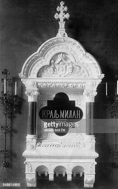 Milan I of Serbia King of Serbia *22081854 King of Serbia 18821889 his gravesite in the Krusedol Monastery in the near of Karlowitz about 1900...